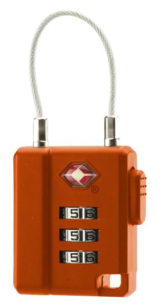 BasicNature TSA Zahlenschloss, mit Stahlseil, orange