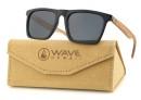 Sunglasses Tobo, Glossy black PC + Zebra Wood