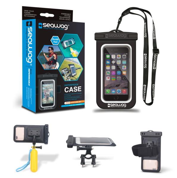 SEAWAG® BUNDLE PACK Wasserdichte Smartphonetasche mit Armband, schwimmfähigem Selfistick und Fahrradhalterung