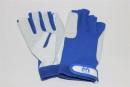 Segelhandschuhe Leder weiß/blau, 5-Finger offen S,...